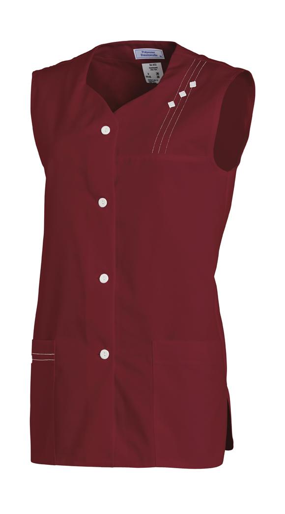 LEIBER-Jobwear, Hosenkasack, Arbeits-Berufs-Kasack, ohne Arm bordeaux