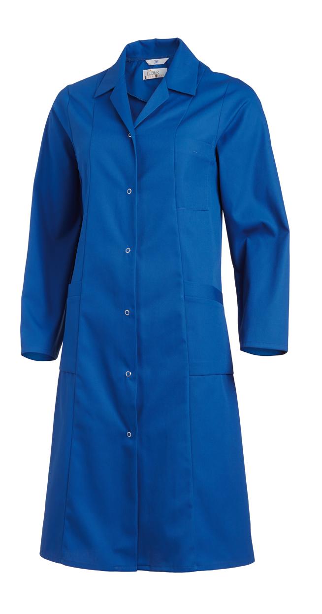 LEIBER-Jobwear, Damen-Arbeits-Mantel, Berufsmantel, Kittel, 1/1 lang, 1/1 Arm, königsblau