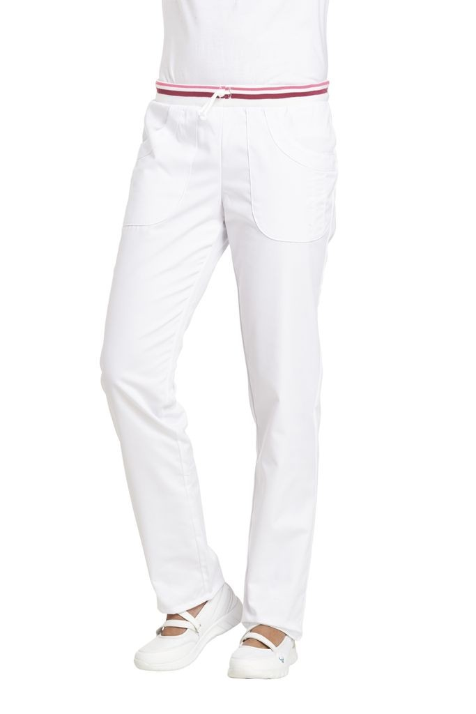 LEIBER-Jobwear, Damen-Arbeits-Berufs-Hose, Bundhose, weiß/ beere