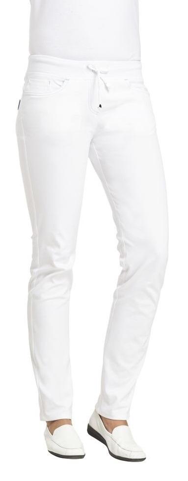 LEIBER-Jobwear, Damen-Arbeits-Berufs-Hose, Bundhose,  Länge ca. 88 cm, ca. 270 g/m², weiß/türkis