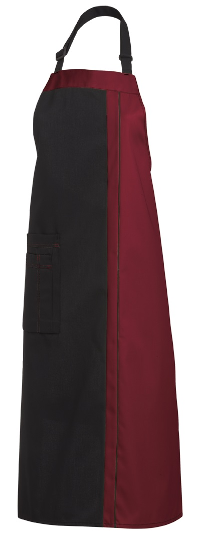 LEIBER-Jobwear, Latzschürze, Arbeits-Berufs-Schürze, Vorbinder, 100 cm, schwarz/bordeaux