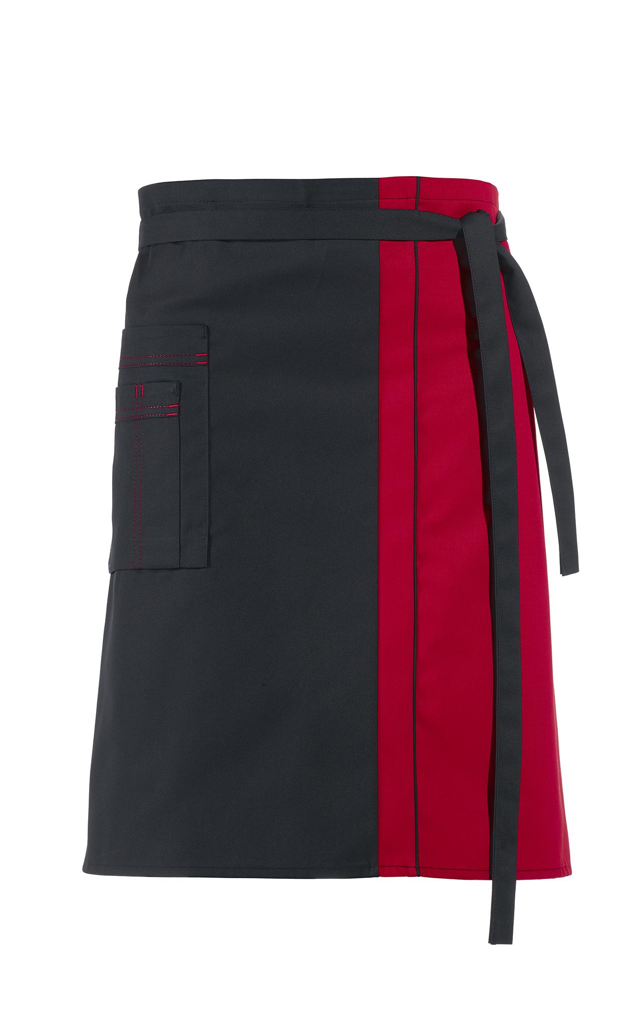LEIBER-Jobwear, Vorbinder, Arbeits-Berufs-Schürze, ca. 215 g/m², schwarz/rot