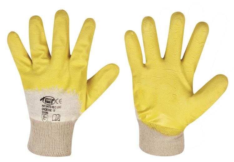 F-STRONGHAND Latex-Arbeits-Handschuhe LSO, gelb, VE = 12 Paar