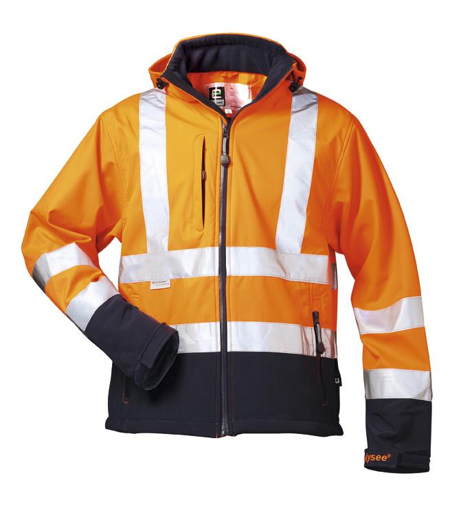 F-ELYSEE-Warnschutz, Softshell Warn-Schutz-Jacke Bill orange/marine