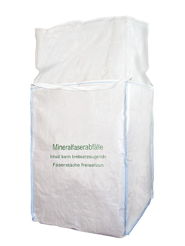 F-BIG-BAG, Mineralwolle, 90 x 90 x 120 cm, Aufdruck: Mineralfaserabfälle
