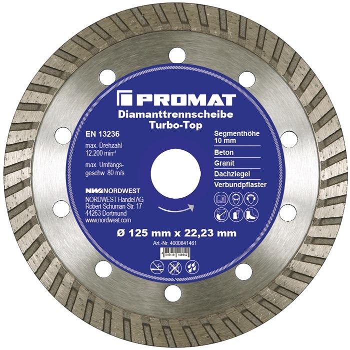 PROMAT-Diamanttrennscheibe D.180mm Bohr.25,4/22,23mm Stahlkern 10mm