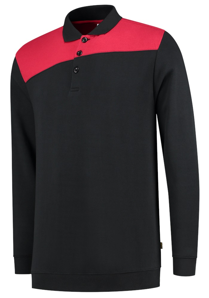 TRICORP-Sweatshirt Polokragen Bicolor, Basic Fit, 280 g/m², black-red