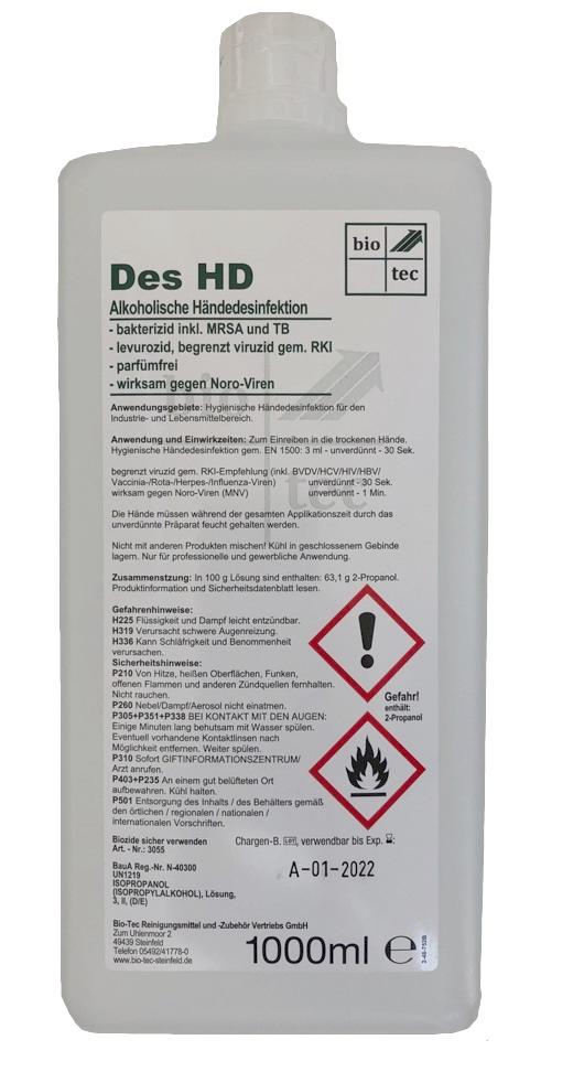 BIO-TEC-Händedesinfektion - Hand-Desinfektionsmittel Des HD - 1000ml